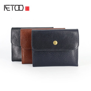 Image 2 - AETOO Handmade Coin Purse Headband Vegetable Tanned Leather Coins Pack Men & Women Retro Mini Leather Card Pack Small Wallet Tid