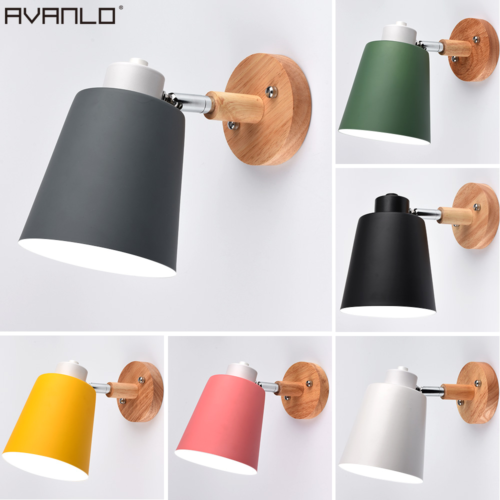 Wall Lamp Bedside Wall Light Single Head Wall Sconce Modern Wall Lights For Bedroom Nordic  Steering E27 Ac85-260V