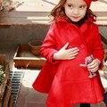 Nuevo 2016 invierno de las muchachas de doble botón abrigo de lana para niños niñas cabritos de la capa de lana larga caliente chaquetas adolescentes de las muchachas lindas ropa