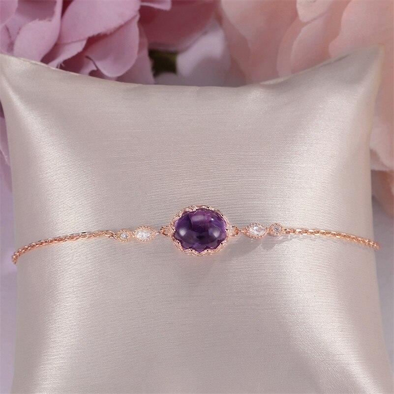Bracelets for Women Natural Amethyst Fine Jewelry 925 Sterling Silver 18K Rose Gold Round Purple Gems Vintage Bracelet CCHI035