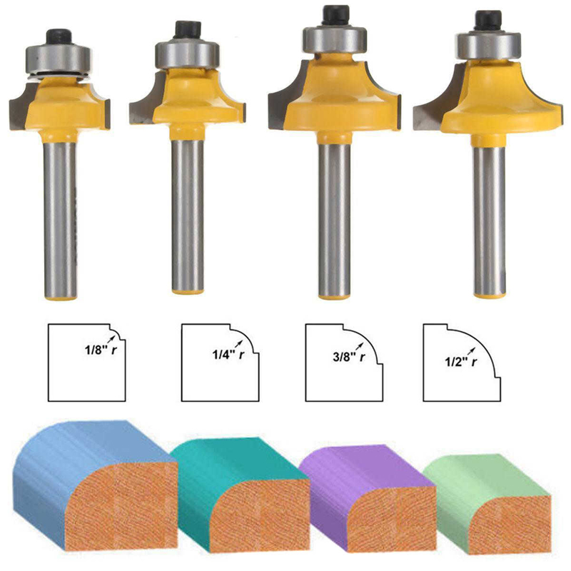 4pcs 1/4 Shank Round Over Router Bit Set 1/2 3/8 1/4 1/8 Radius for Wooworking Cutter Tool 1 4