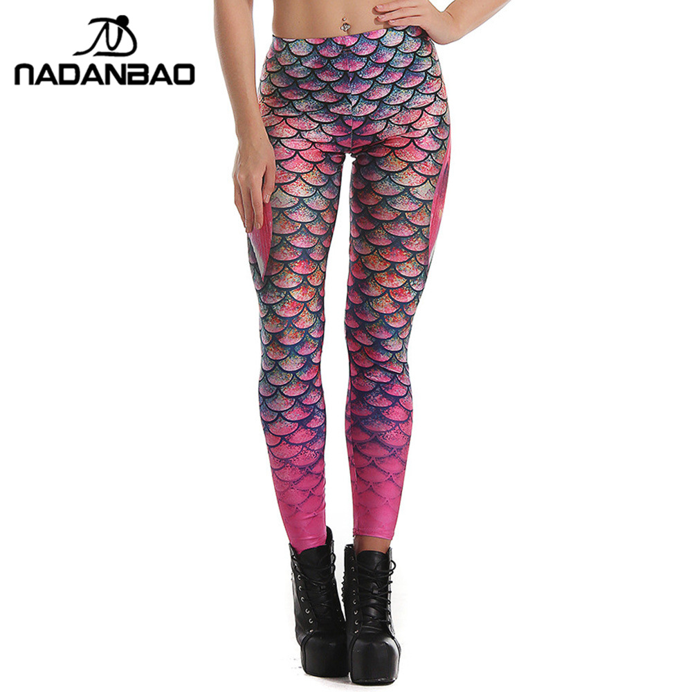 NADANBAO Sommarstil Scale Kvinnor leggings 3D-tryckt sjöjungfru Plus Storlek Leggins Gradient Workout Leggins Pant Legging
