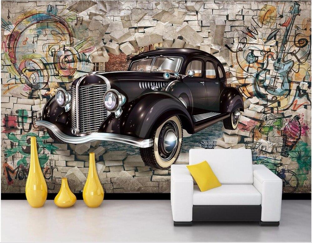 Car Home Decor: Custom Photo 3d Wallpaper On The Wall Vintage Cars Broken
