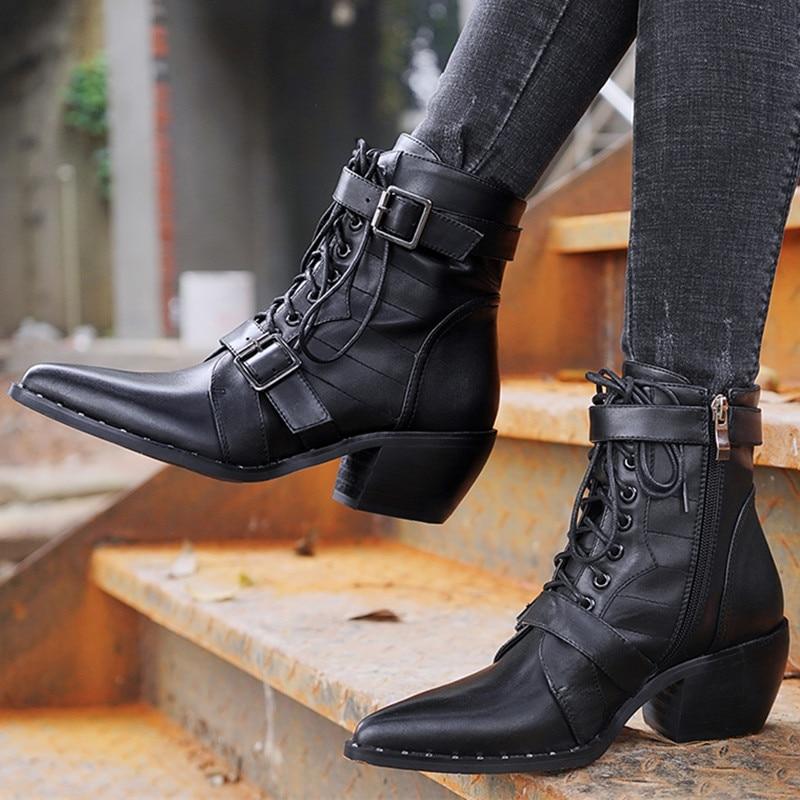 Prova perfetto design da marca botas de motocicleta feminina fivela de rebite rendas até botas de tornozelo apontado dedo do pé chunky calcanhar zíper botas mujer