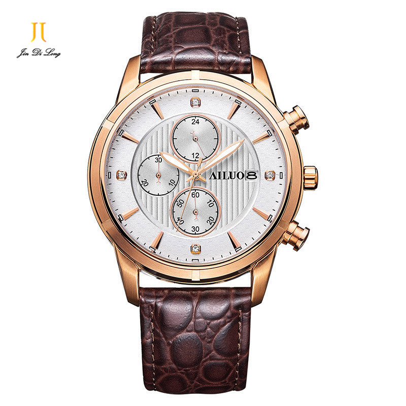 Functional Sapphire quartz watches men Genuine Leather Watchbands calendar Chronograph men Wristwatches Waterproof Casual watch seiko watch premier series sapphire chronograph quartz men s watch snde23p1