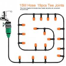 15Meter Hose 19pcs Tee Jionts Set Garden Water Irrigation System Greenhouse Plants Automatic Watering Kit