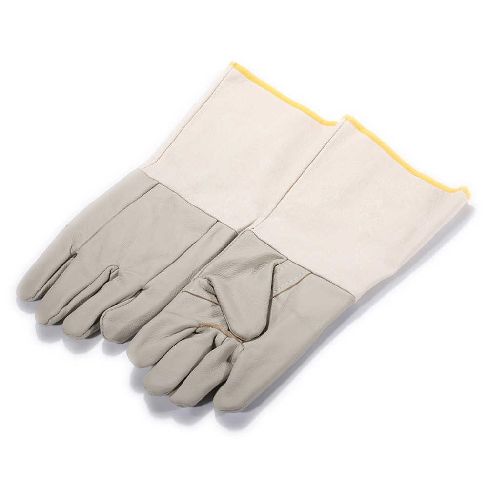 Universal A Pair Extended Long Cowhide + Canvas Welding Safety Work Gloves For Car or Motorcycle Gloves Breathable HOT SALE NEW