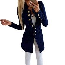 Тонкая куртка зима 2018 Новая мода однобортный сплошной для женщин длинное пальто Офис Комбинезон красные, черные боты рукав Верхняя одежда M0235