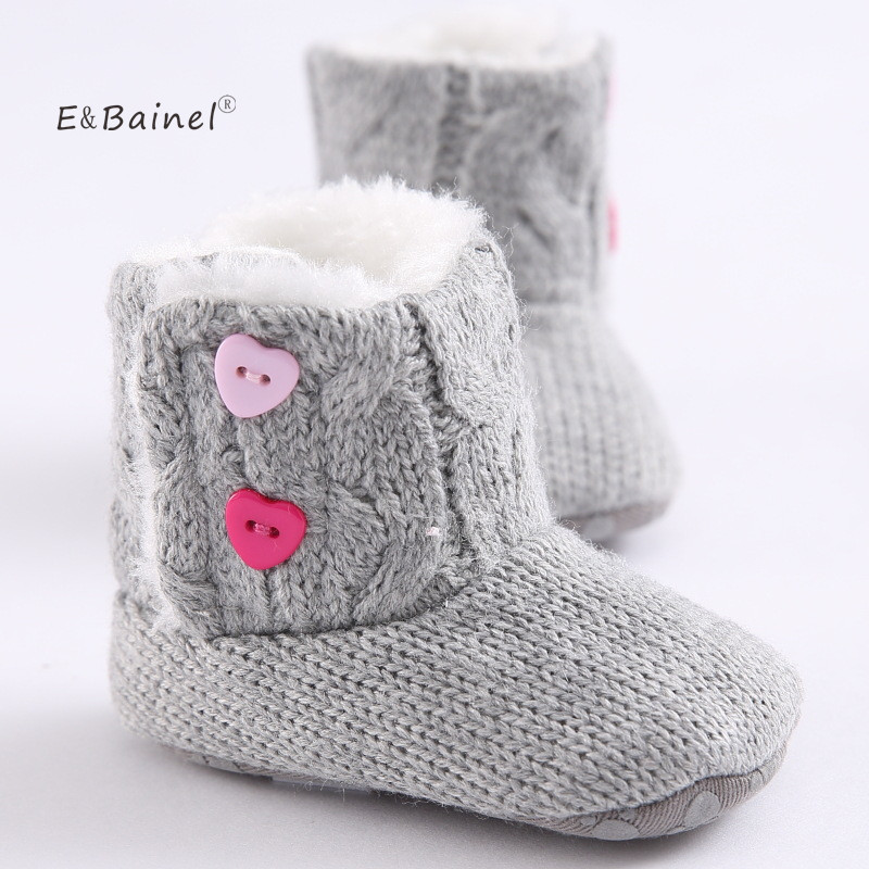 цены Winter Baby Snow Boots Warm Toddler Shoes Baby Girl Shoes Knitted Solid First Walker Infant Newborn Baby Shoes Footwear