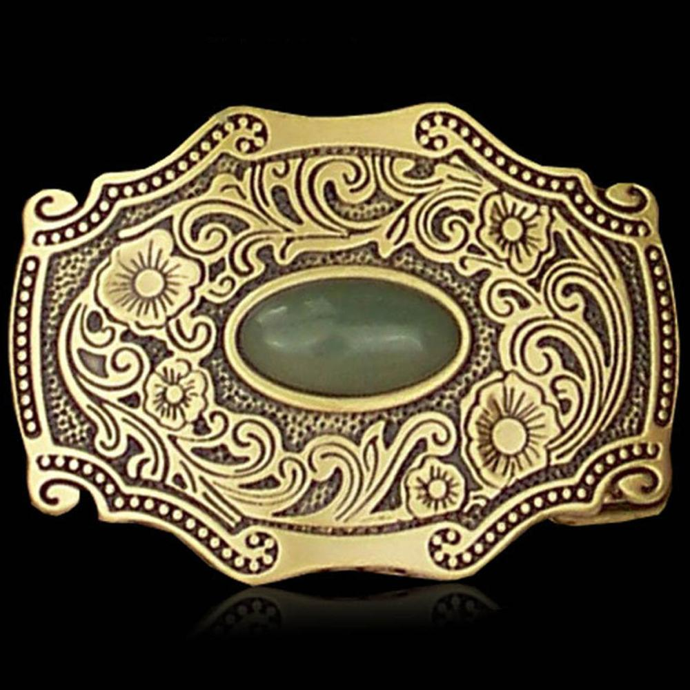 FAJARINA Mens Unique Floral Pattern Real Jade Decorative Brass Retro Style Smooth Buckles For 3.6-4.0cm Width Smooth  BCK034