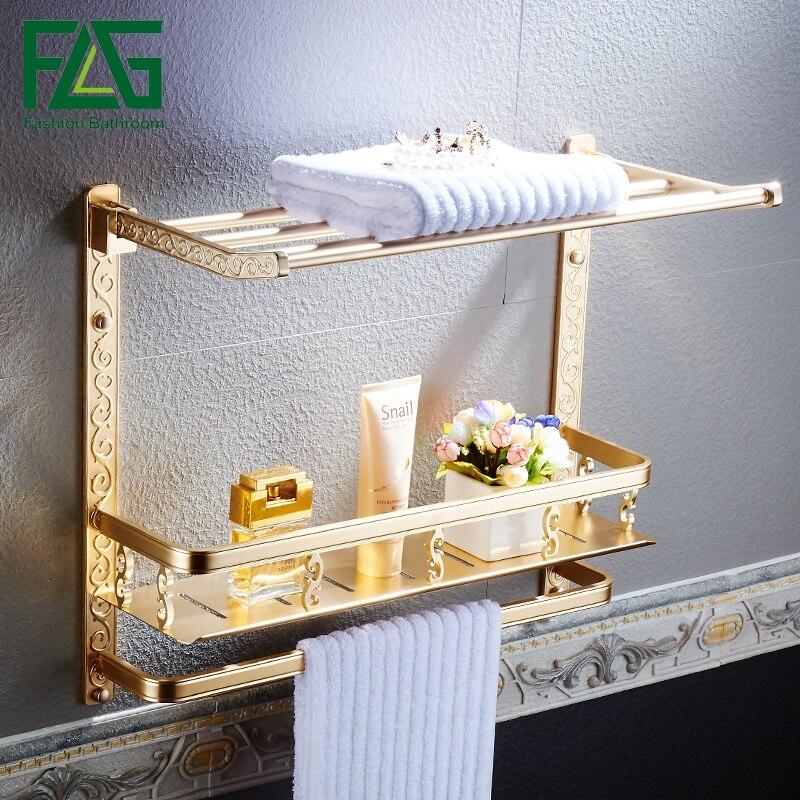 FLG Wall Mount Bathroom Shelf Bathroom Dual Tier Storage Rack With Towel Bar reflection spectroscopy shelf mount open pg207 15 to 50 70 100