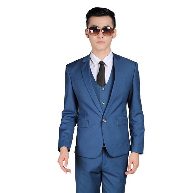 2016 New Arrival Homens ternos (Jacket + Pants + Tie) Noivo Desgaste Formal Do Partido Jantar de Negócios Clássico Casuais Blazer de luxo Diamante Azul