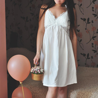 Sexy Lingerie Nightgown Fashion Summer Homewear Women Lace Sexy Elegant Sleepwear Soft Lace Slip Lounge Dress Cotton 95%