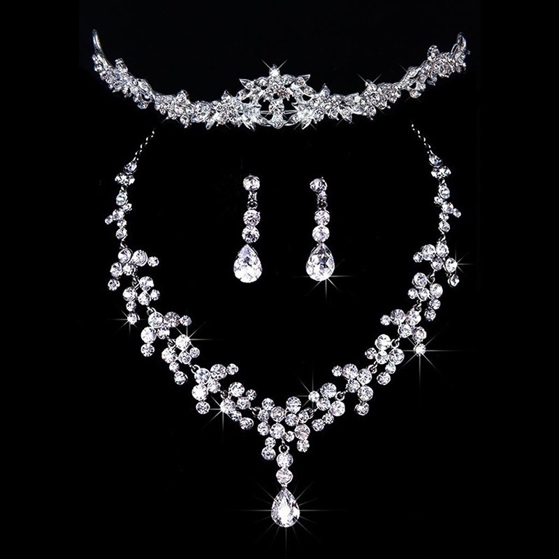 Bridal Wedding Party Jewelry Set Crystal Rhinestone Necklace  Earrings Tiara