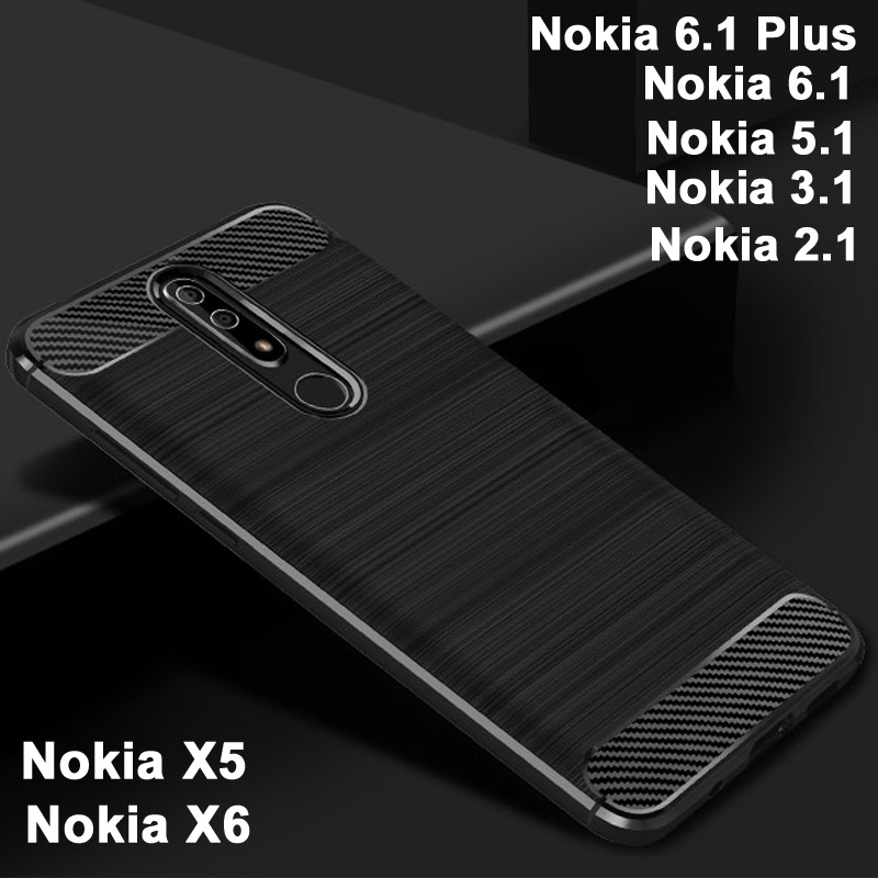 For Nokia 6.1 Plus case Black TPU case for Nokia 5.1/3.1/2.1 case Carbon Fiber For Nokia X6 case X 6 cover For Nokia X5 X 5
