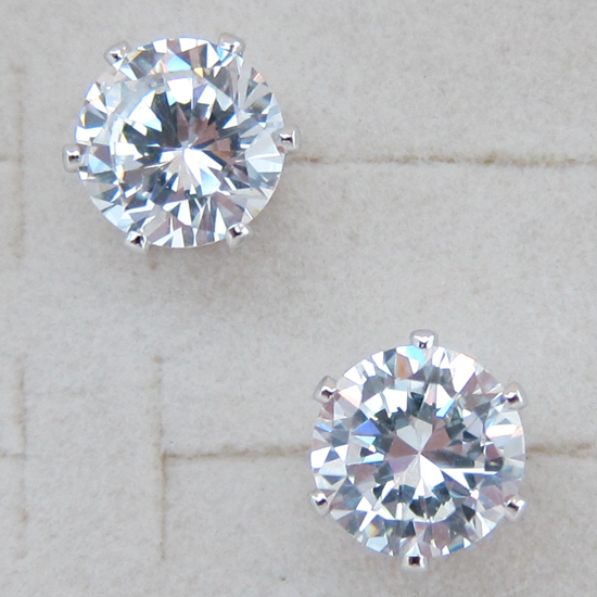 Simple Stylish Nice Round White CZ Gems Stud Earrings rhodium plated Jewelry Gift For Women EB019