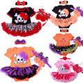 2017New Baby Girl Halloween Clothing Sets Skull Jumpersuit Romper Dress+Shoes+Headband Infant 3pcs Suit Bebe Hallowmas Costumes