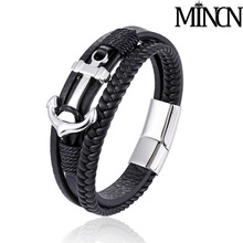 MINCN Ship hook braided leather bracelet stainless steel ship anchor jewelry multi-layer boat for mens