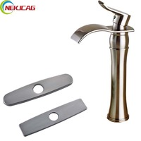 Brushed Nickel Countertop Waterfall Bathroom Faucet 10 Stainless Steel Hole Cover Plate Deck Mounted