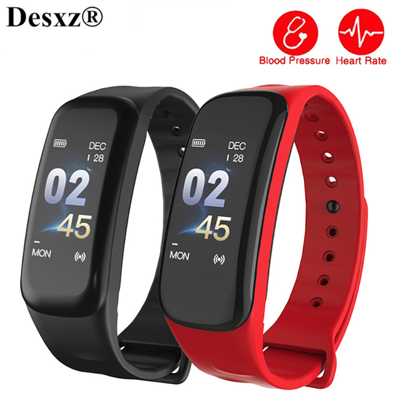 C1plus rastreador de Fitness pulsera inteligente de pantalla a Color de sangre PressureHeart Monitor recordatorio de llamada deporte banda inteligente Android IOS