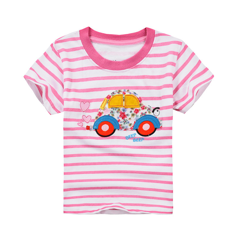 Baby girls new purple white striped summer t shirts kids hot selling cartoon t shirt with applique a lovely car top quality 2018