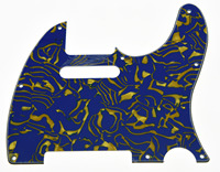 KAISH Guitar Pickguard Scratch Plate Blue/Yellow Shell for TL 3 Ply