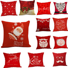 Hot-Selling Custom Christmas Festive Red Pattern Sofa Pillow Pillowcase christmas decorations for ho Manufacturers