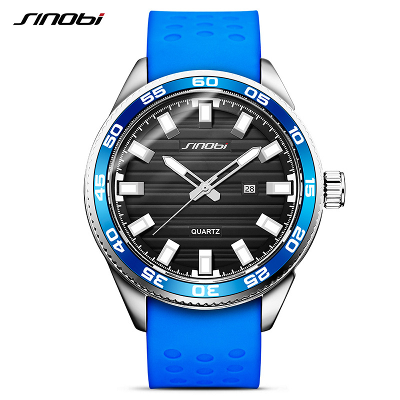 SINOBI 316 Stainless Steel Mens Sports Watches 2018 Luxury Brand Silicone Waterproof Men Military Watch Quartz Relogio Masculino sinobi mens quartz watches luxury brand men s fashion watch auto calendar waterproof sports wrist watches relogio masculino 8132