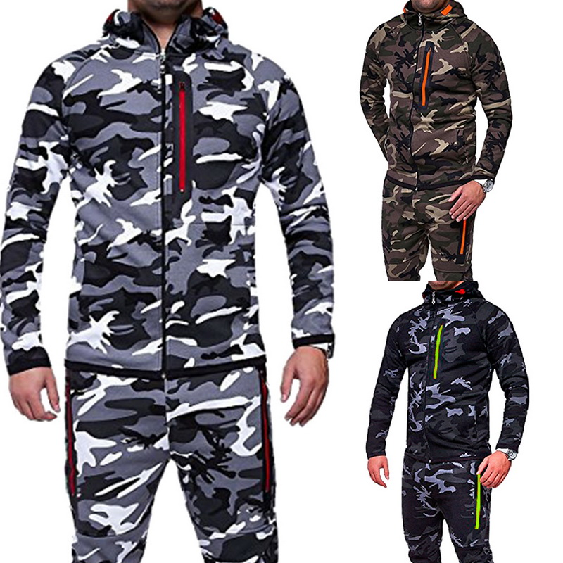 CALOFE Running Sets Men Sports Autumn Gym Printed Jogging 2Pc Sportwear Running Sets 2018 For Man Suits Camo Male Training Sets 1