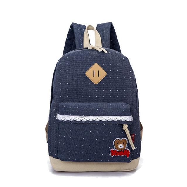 US $28 57 |2015 Canvas lace backpack,Dot korean backpacks for teenage  girls, Leisure cute bear kpop backpack for Middle school D3 833-in School  Bags