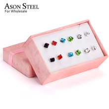 ASONSTEEL Female 2019 Stainless Steel Size 4mm 6mm Geometry Colorful Stud Earring Sets 6Pairs/box pendientes mujer