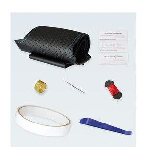 Image 5 - Handsewing黒pu人工皮革ステアリングホイール用カバーRAV4 セリカマトリックスMR2 スープラvoltzカルディナMR Sカローラ