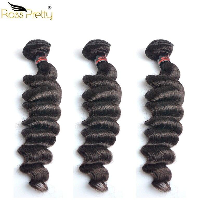 Ross Bonita Brasileiro Remy Cabelo Weave Bundles Solto Profunda Cor Natural Preto Extensão Do Cabelo Humano comprimentos 10-30 Polegada produto de cabelo