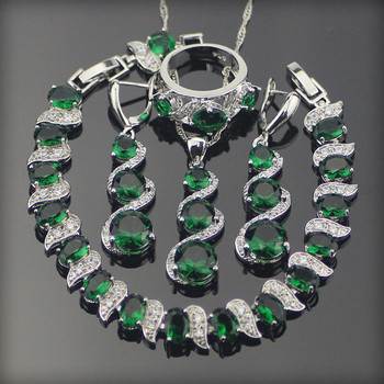 Green Zirconia Bridal Jewelry Sets For Women