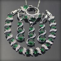 Green Emerlad White Topaz 925 Sterling Silver Jewelry Sets For Women Earrings Pendant Necklace Rings Bracelets