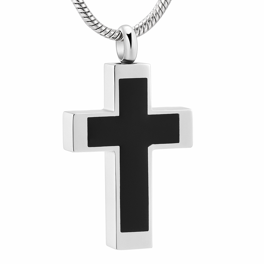 IJD11124 Funeral Jewelry -Black Cross Stainless Steel Memorial Urn Necklace Locket Hold Ashes Keepsake Cremation Pendant For Men 1