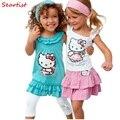 девочки летние костюмы детей 3pcs наборов из + платье + штаны, дети милые одежду набор новых розничных 2017 прибытия  - фото