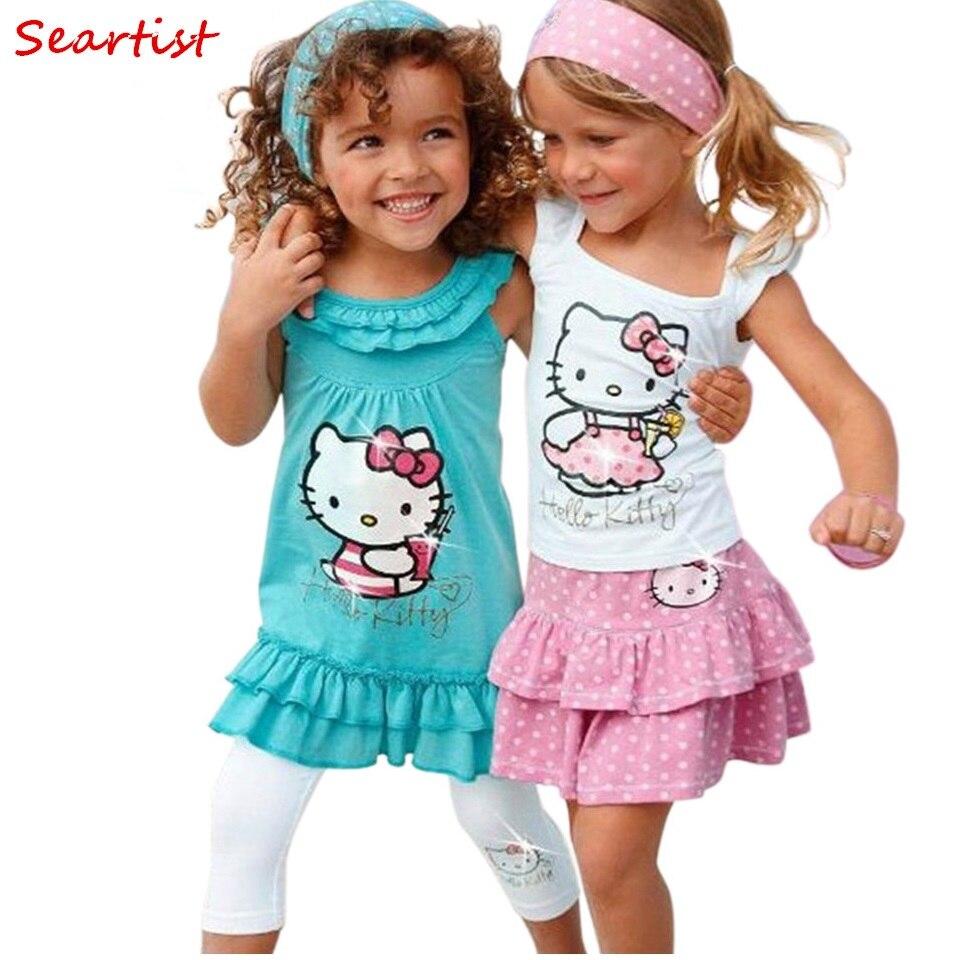 Sertista bebé niña ropa de bebé niñas Hello Kitty vestido de los niños 3 piezas conjuntos diadema + vestido + Pantalones chica conjunto de ropa vestidos C13
