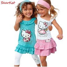 c3acee160 Seartist Baby Girl Clothes Baby Girls Hello Kitty Dress Children 3Pcs Sets  Headband+Dress+Pants Girl's Clothing Set Dresses C13
