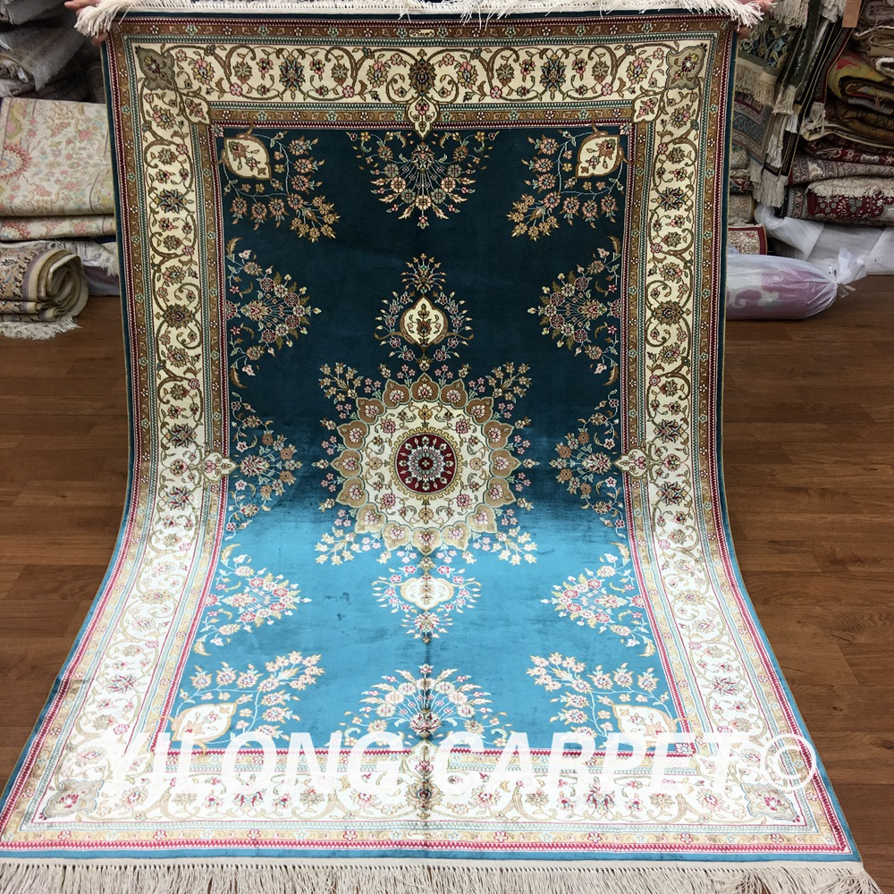 Yilong 4u0027x6u0027 Persian Silk Rugs China Blue Handknotted Handmade Pure Carpet