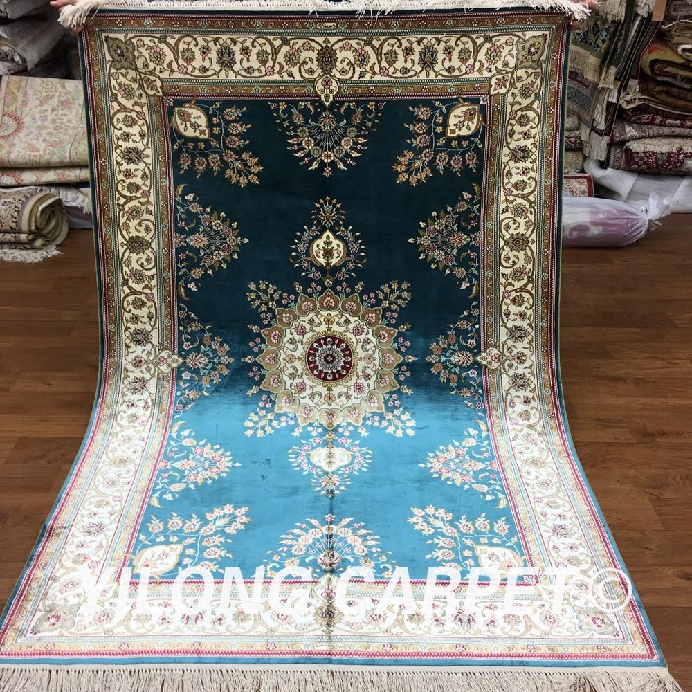 Yilong 4 X6 Persian Silk Rugs China Blue Handknotted Handmade Pure Carpet