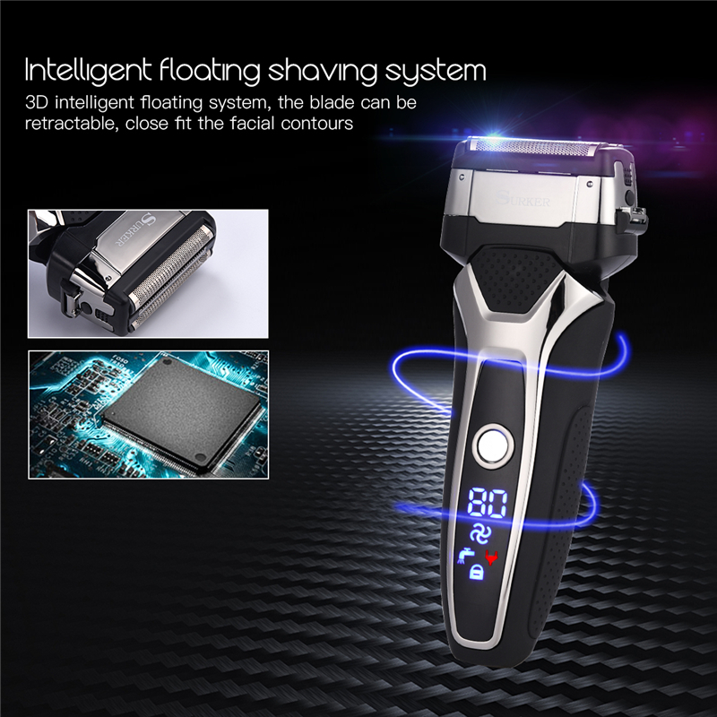 LED Display Male Turbo Electric Shaver USB Rechargeable 3D Triple Floating Blade Beard Trimmer Razor Cord & Cordless Dual Use 49