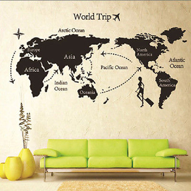 environmental diy big global world map atlas vinyl wall sticker easy