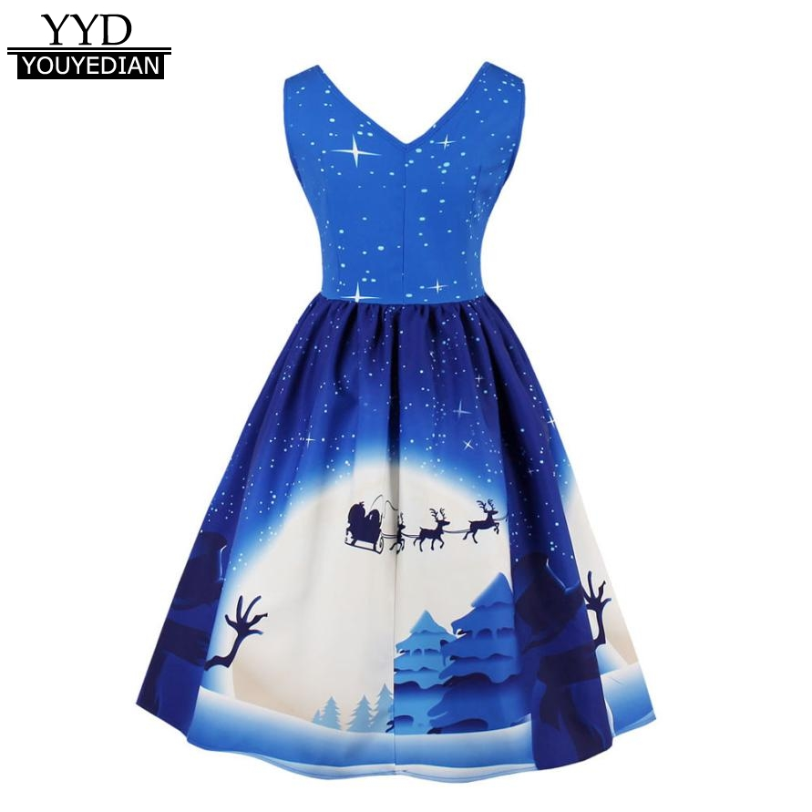 9945605f591c Plus Size 4XL Clothes Womens Santa Christmas Evening Party Dress Vintage  Xmas Swing Skater Dress For Women Ladies Dresses #1109