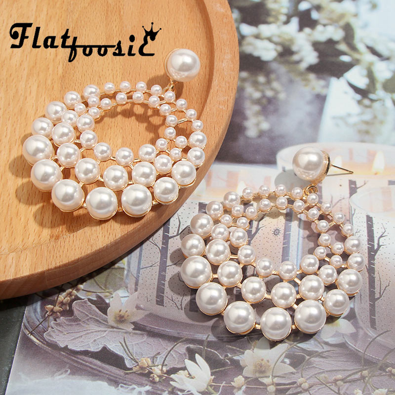 Flatfoosie 2019 Summer Pearl Drop Earrings For Women New Big Pendant Statement Freshwater Pearl Earrings Metal Jewelry Gifts