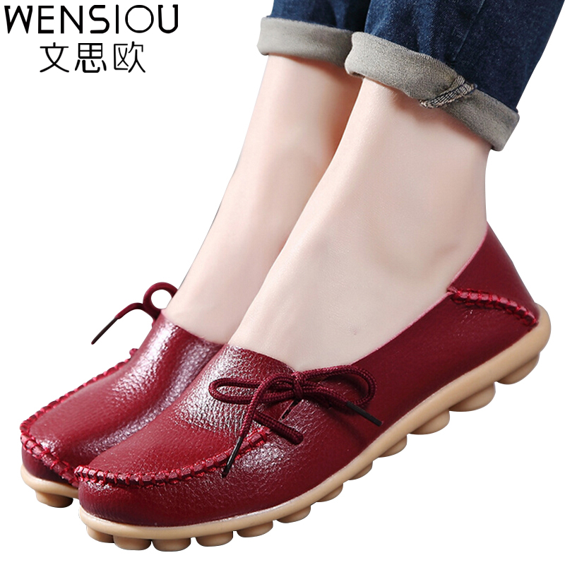 Large size leather Women shoes flats mother shoes girls ...