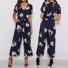 ZOGAA 2019 New Fashion Summer Women Jumpsuit V-neck Lace-up Short Sleeve Printed Jumpsuits Ladies Sashes Overalls Romper