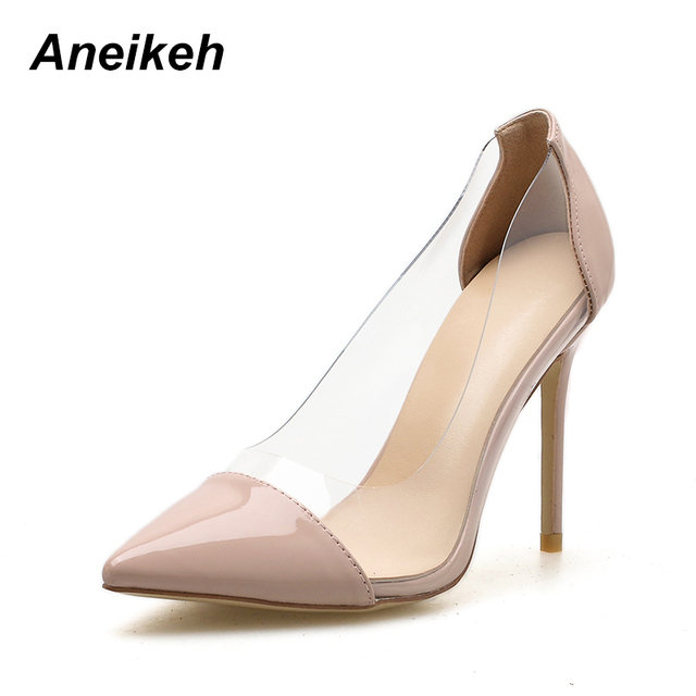 689ac43697c1 Aneikeh PVC Transparent Fashion Women Shoes Ladies Slip On Sexy High Heels  Pointed Toe Thin Heels Wedding Shoes Party Pumps