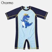 Charmo One-Piece Baby Boys Swimwear Fish Printed Rashguard Swimsuit Child Long Sleeve Rash Guard UPF 50+ Cute Beach Wear