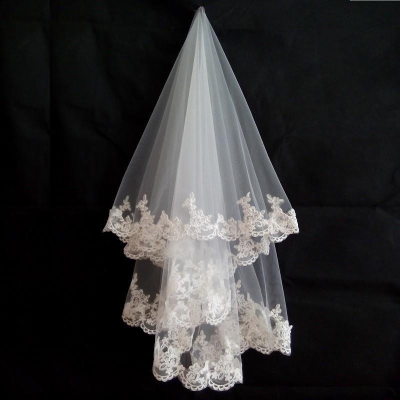 1.5 Meters Lace Appliques Tulle Bridal Veil